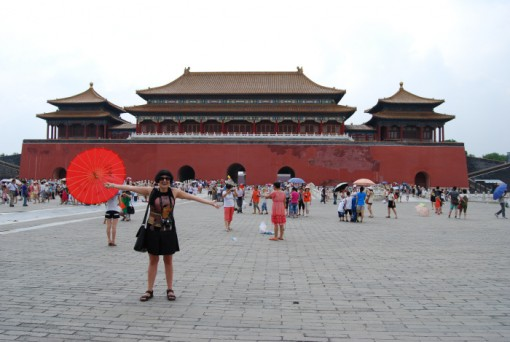 Smalman in front of the East Glorius Gates she walked through to enter the Forbidden City.