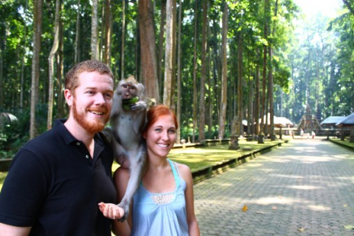 Dunn and her husband at Monkey Forest, Bali.