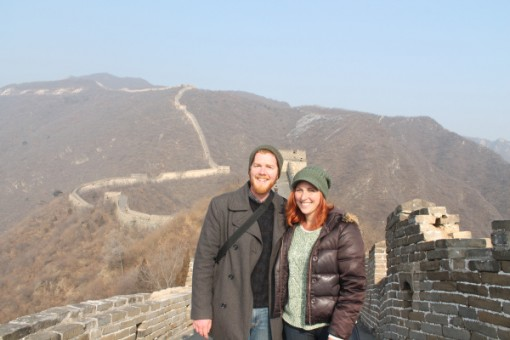 Lily and her husband exploring the Great Wall of China.