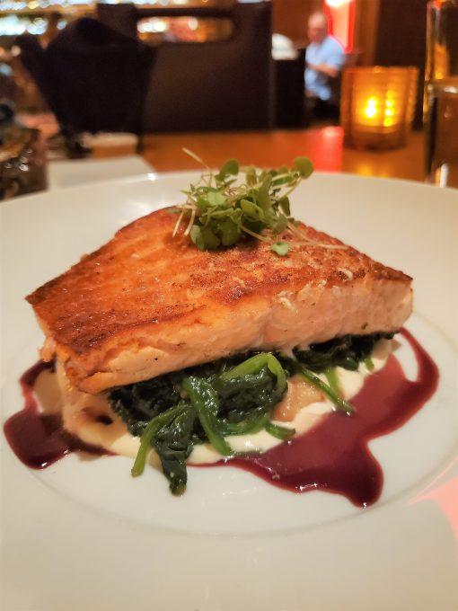 Salmon dinner at Michael Jordan's Steak House